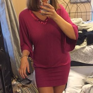 Fuchsia mini bubble dress with bell sleeves